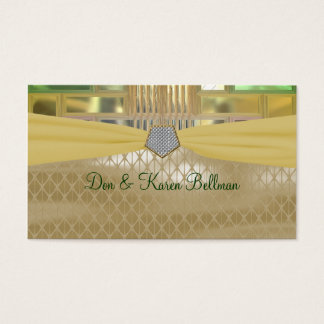 Mosaic Green and Gold Squares & Triangles Business Card