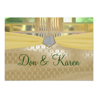 Mosaic Green & Gold Squares & Triangles Wedding 5x7 Paper Invitation Card