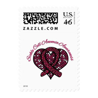 Mosaic Heart Ribbon Sickle Cell Anemia Stamp