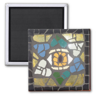 Mosaic Hearts Star of David w/Evil Eye 2 Inch Square Magnet