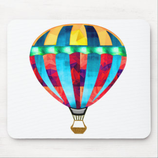 Mosaic Hot Air Balloon in Red, Yellow & Blue Mousepad