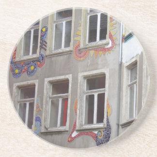 Mosaic Houses Sandstone Coaster