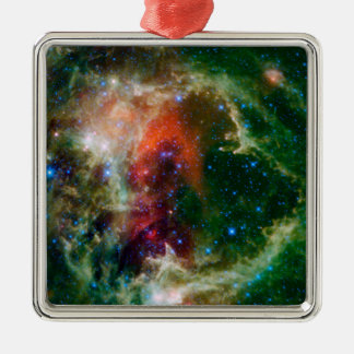 Mosaic is of the Soul Nebula Square Metal Christmas Ornament