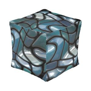 Mosaic Jigsaw Sea Cube Pouf
