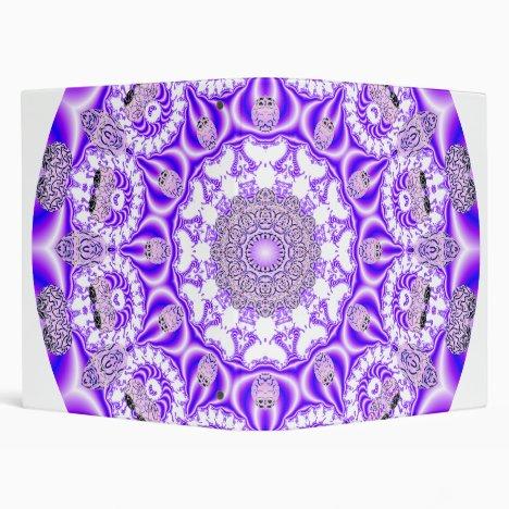 Mosaic Lace Mandala, Abstract Violet Purple 3 Ring Binder