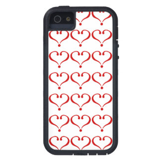 Mosaic landlord with red hearts white bottom iPhone SE/5/5s case