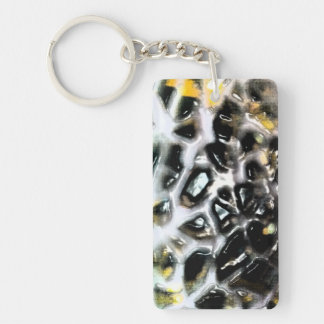 Mosaic Like Cantaloupe Beehive black and white Keychain