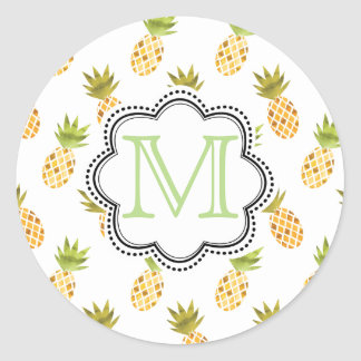 Mosaic-Like Tropical Watercolor Pineapple Pattern Classic Round Sticker