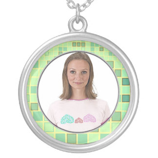 Mosaic Lime Green Frame Necklace Add Photo