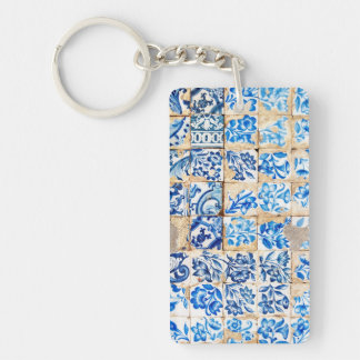 mosaic lisbon blue decoration portugal old tile keychain
