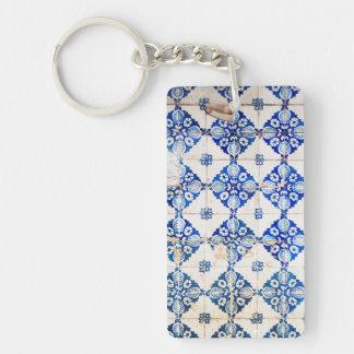 mosaic lisbon blue decoration portugal old tile po keychain
