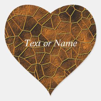 Mosaic Lora, warm brown Heart Stickers