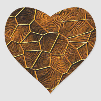 Mosaic Lora,warm brown Heart Sticker