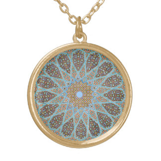 mosaic mandala gold plated necklace