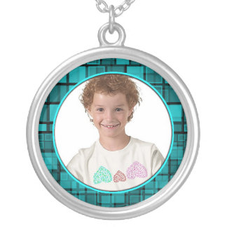Mosaic Midnite Blue Frame Necklace Add Photo