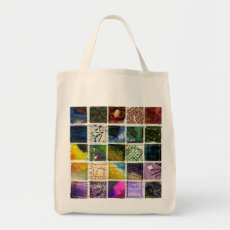 Mosaic of abstract squares of different techniques tote bag
