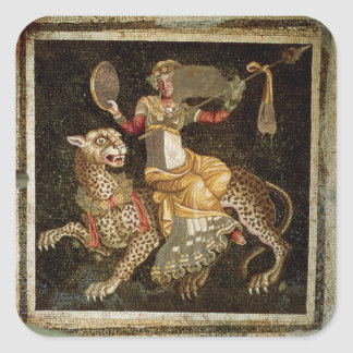 Mosaic of Dionysus riding a Leopard c.180 AD Square Sticker