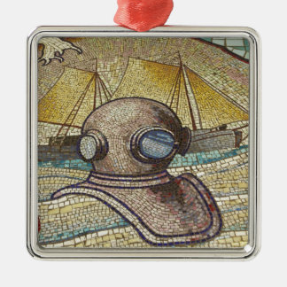 Mosaic of old divers helmet square metal christmas ornament