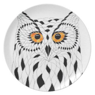 Mosaic Owl Melamine Plate