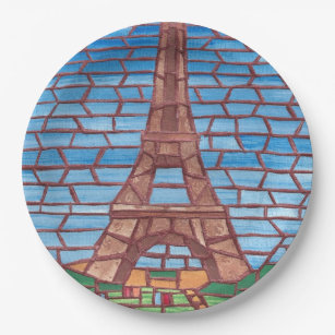 Mosaic Painting Eiffel Tower Paper Plates  sc 1 st  Zazzle & Eiffel Tower Painting Plates | Zazzle
