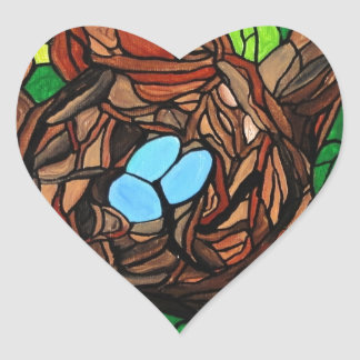 mosaic painting of birds eggs in a tree heart sticker