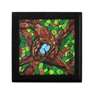 mosaic painting of birds eggs in a tree keepsake box
