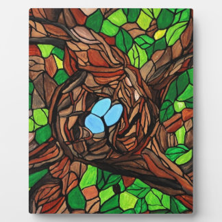 mosaic painting of birds eggs in a tree plaque