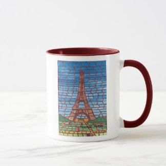 Mosaic Painting of Eiffel Tower Custom Mugs