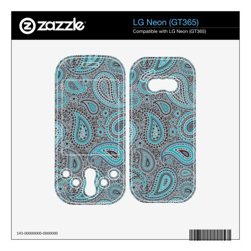 Mosaic Paisley Effect in Oceanic Blue LG Neon Skins