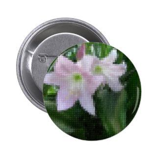 Mosaic Pale Pink Amaryllis 5 Pinback Button
