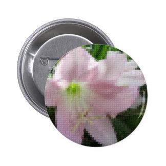 Mosaic Pale Pink Amaryllis Close Up Pinback Button