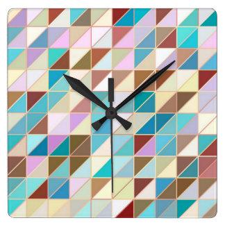 Mosaic - Pastels and earth tones Square Wall Clock