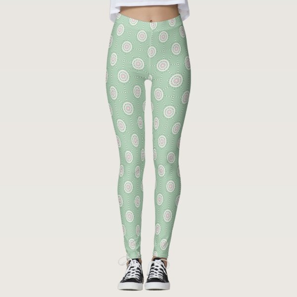 Mosaic patchwork mint green and pink mandala leggings