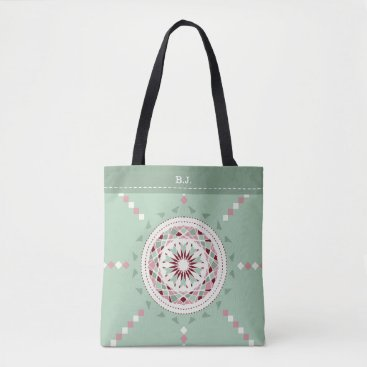 Aztec Themed Mosaic patchwork mint green and pink mandala tote bag
