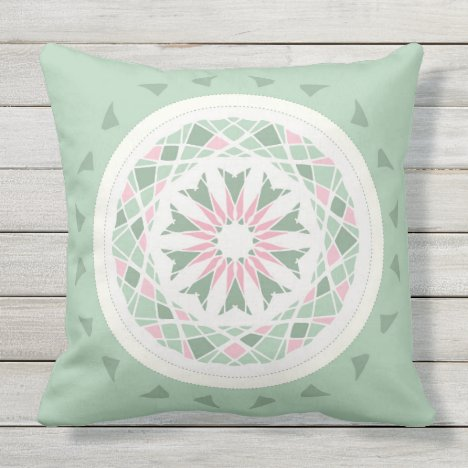 Mosaic patchwork pink and mint green mandala outdoor pillow