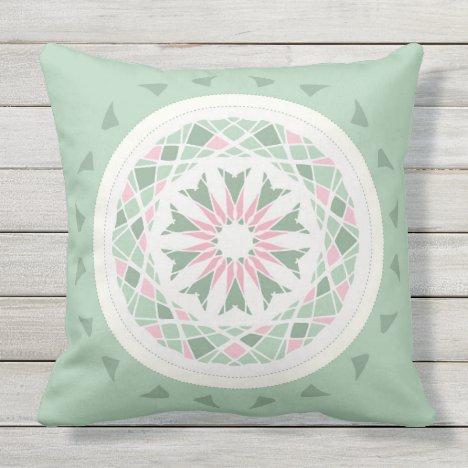 Mosaic patchwork pink and mint green mandala outdoor pillow
