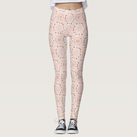 Mosaic patchwork pink mandala leggings