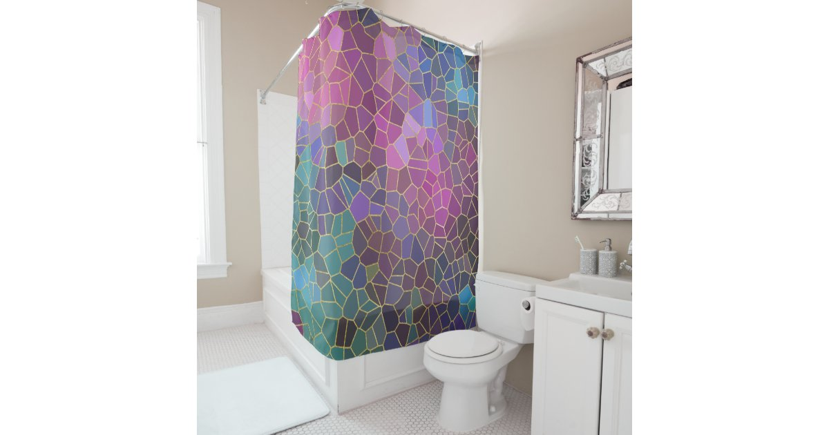Mosaic Pattern Of Pink Purple Teal Blue Green Gold Shower Curtain Zazzle