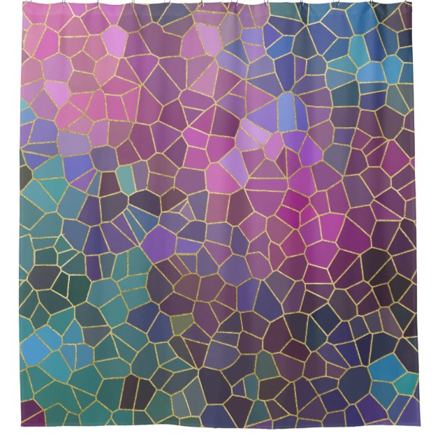 Bright Colored Mosaic Pattern Of Pink Purple Teal Blue Green Gold Shower Curtain Zazzlecom Zazzle