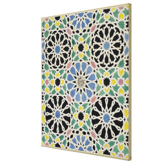 Mosaic Pavement in the Alhambra, from 'The Arabian Canvas Print