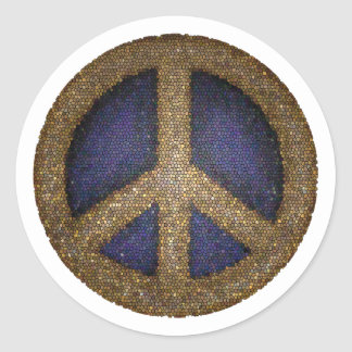 Mosaic Peace Sign in Golds and Blues Classic Round Sticker
