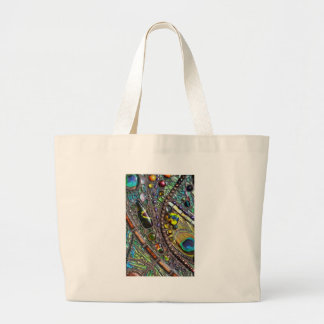 Mosaic Peacock Feather Tote Bags