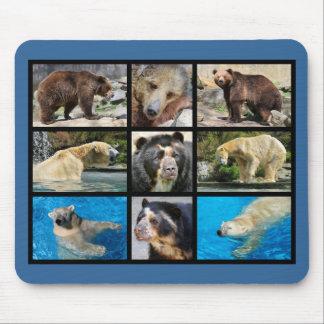 Mosaic photos of bears mouse pad