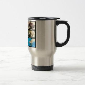 Mosaic photos of bears travel mug