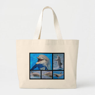 Mosaic photos of dolphins large tote bag