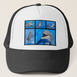 Mosaic photos of dolphins trucker hat