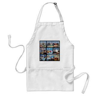 Mosaic photos of fishing boats adult apron