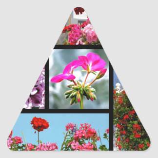 Mosaic photos of geranium triangle sticker