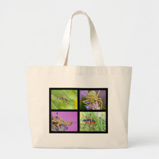 Mosaic photos of grasshoppers large tote bag