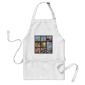 Mosaic photos of objects in harbor adult apron